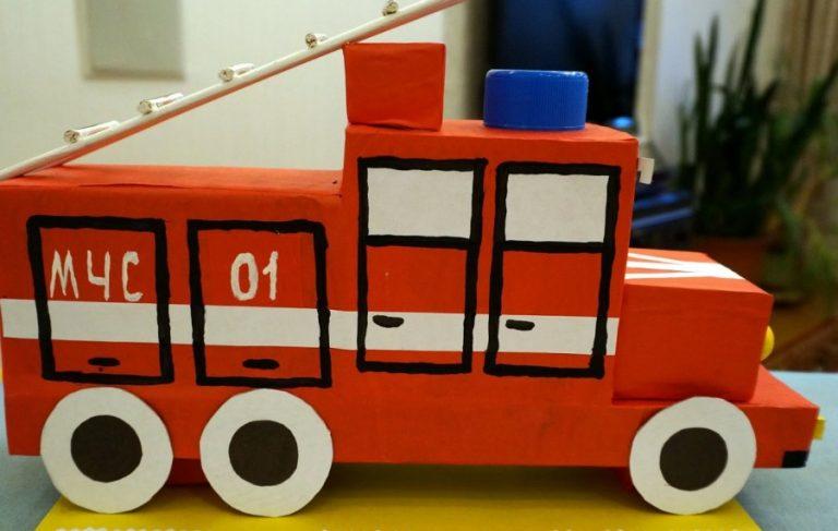 Пожарная машина открытка своими руками