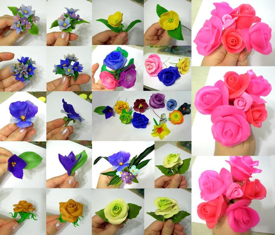 цветы из полимерной глины фото пошагово крепкие