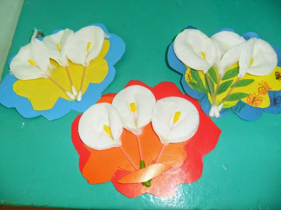 Цветы для открытки из ватных дисков, картинки